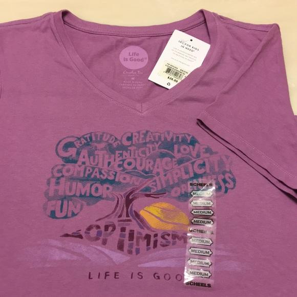 Life Is Good Tops - Life is Good T-shirt v-neck light purple gratitude